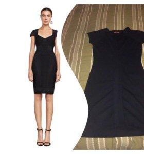 Черное бандажное платье