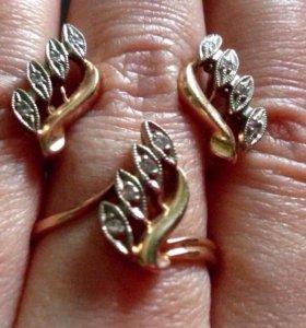 Бриллиантовый Золотой Комплект 585 пр.фабричный.