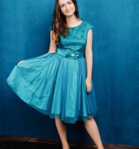 Платье вечернее, синее