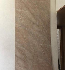 Панель кухонная настенная мрамор лосось