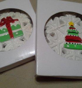 Снежинки керамика 2шт