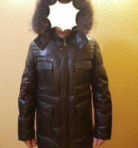 Куртка кожа на пуху с натуральным мехом