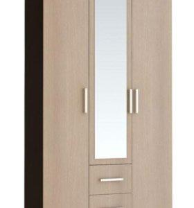 Шкаф 3х дверный 120см с зеркалом и ящиками.