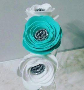 ободок с цветочками из фоамирана