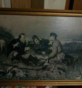 Картина на холсте. Охотники на привале.