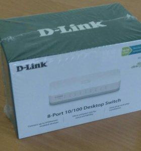 Коммутатор d-link des-1008a новый