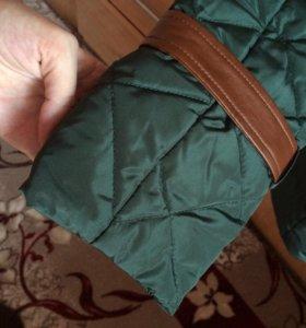 Куртка на пуху с кожаными вставками