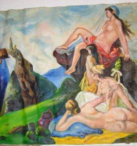 Картина холст, масло,1976г. 180см х 118см
