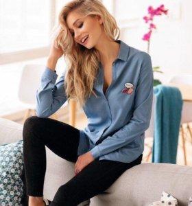 Рубашка джинсовая с нашивками