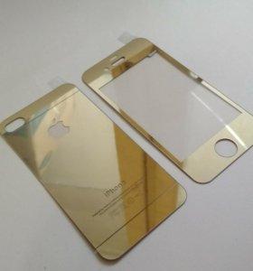 Золотое стекло на iPhone 4/4s