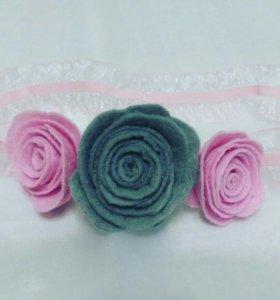 повязочки с цветами из фетра