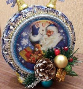 Новогодний будильник из печенья и конфет🎄⏰🍬