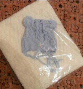 Подарочный набор плед и шапочка для новорожденного