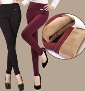 Зимние эластичные штаны-легинсы новые бордовые