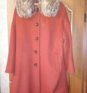 Драповое пальто с натуральным мехом, 54-56