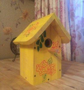 Домик для птиц. Садовый декор. Скворечник