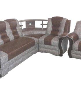 """0212 диван угловой """"Аделина"""" с баром и креслом"""