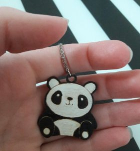 Деревянный кулон подвеска панда