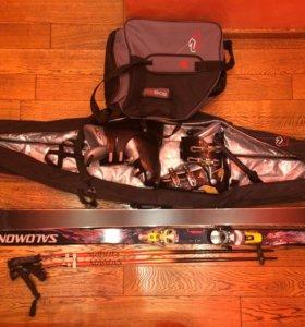 Горные лыжи Salomon комплект.