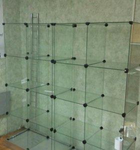 Витрина стеклянная кубики