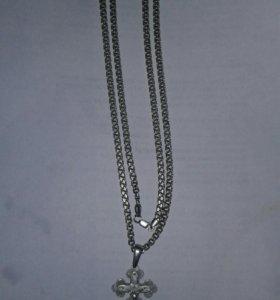 серебренная цепочка с крестиком , раз 66 , 22 гр