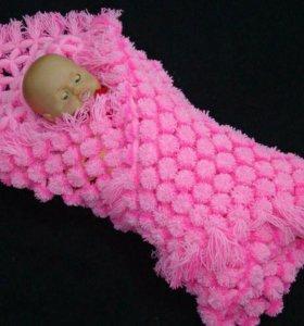 Плед-одеяло из помпонов