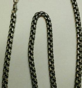 Серебряные цепочка из черненого серебра