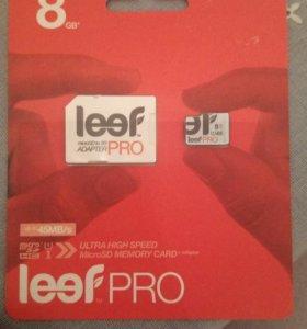 Карта памяти Leef PRO microSD 8Gb UHS1+SD адаптер