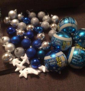 Елочные игрушки-шары.Сине-серебристый вариант