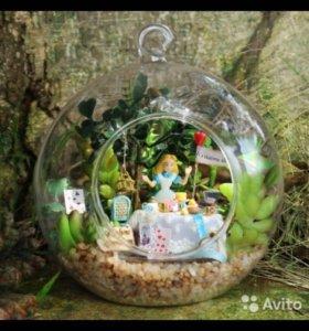 Кукольный домик в стеклянном шаре Алиса