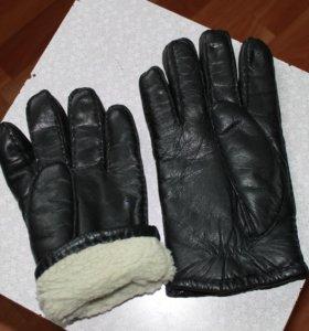 Мужские перчатки кожаные зимние