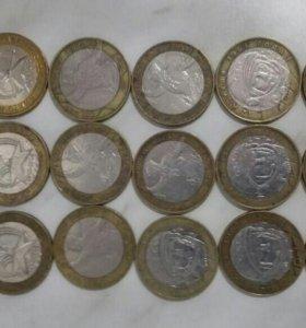 Монеты юбилейные 2000-2005 гг биметалл.