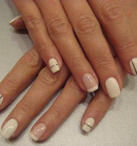 Наращивание ногтей гелем, покрытие ногтей