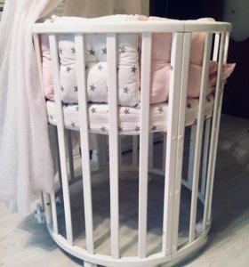 Кроватка детская трансформер + 2 матраса
