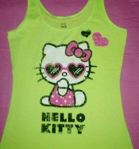 Майка женская новая лаймовая hello kitty