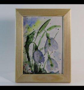 Картина акварельная «Подснежники»
