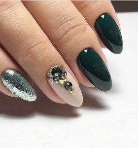 Наращивание ногтей,покрытие гель-лак,shellac))