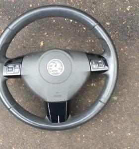 Руль черные вставки на Opel Astra Vectra Zafira