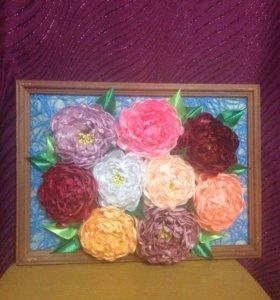 Картина из цветов ( атласная лента )