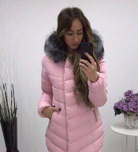 пуховик зимний теплый розовый, персиковый