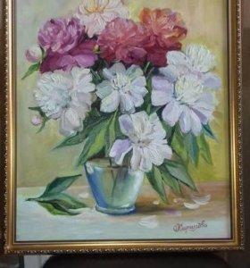 """Картина маслом """"Пионы"""" в багете"""