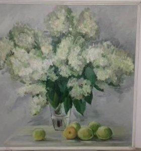 "Картина маслом на оргалите ""Гортензия"""