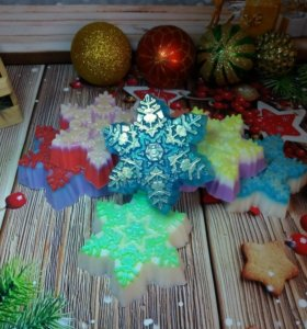 Мыло ручной работы снежинка