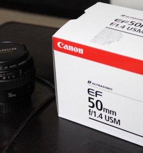 Объектив Canon EF 50 mm, f1/4+ бленда
