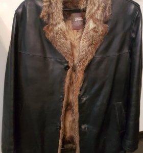 Куртка зимняя кожаная мужская на меху