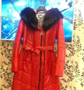 Зимняя куртка-пальто)))Эко-кожа