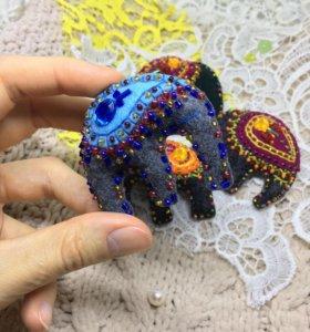 Брошь ручной работы «Индийский слон»