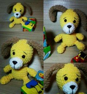 Вязаная собачка!Плюшевая игрушка ручная работа