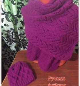 Шапка и ажурный шарф -палантин
