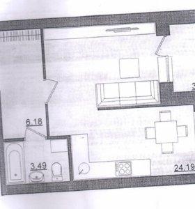 Квартира, 1 комната, 35.6 м²